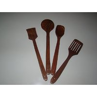 Buyaddiction Utensil Wooden Flat Spoon/Spetula Spoon Turner Rice Spoon Set Of 4 Pcs