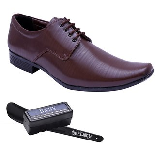Bxxy Brown Faux Leather Lace Up Shoes