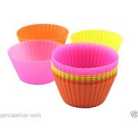 Round Shape Re-Usable Silicone Muffin And Cupcake Mould