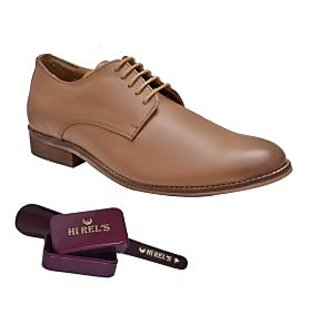Hirels Tan Leather Derby Shoes