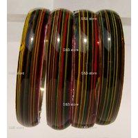 Circular Multi Color Strip  Hand Crafted  Glass Bangles/kara (A-118)