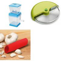 SHRI KRISHNA COMBO OF ONION CUTTER, PIZZA CUTTER AND GARLIC PEELER