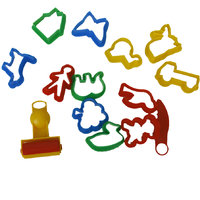 Set Of Colorful Plasticine Cookie Cutter Molds Moulds Tool With Various Animal Plants Shapes