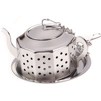 Stainless Steel Teapot Shape Tea Infuser Strainer W/ Tray