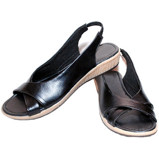 Richiee Black Imported Faux Leather Slip On Sandals