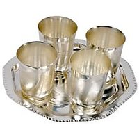 German Silver 4 Glass With Tray Set