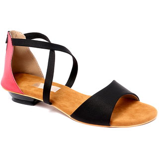 GLAMEOUS Black/Red Women Casual Sandal