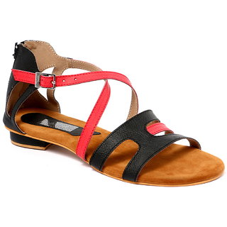 GLAMEOUS Black/Red Women Casual Sandal - 83393363