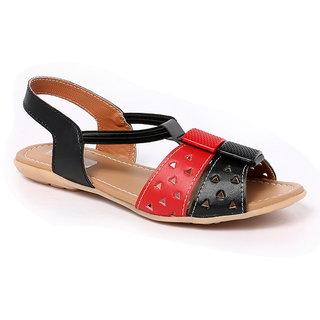 GLAMEOUS Black/Red Women Casual Sandal - 83393435
