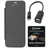 Micromax Canvas Fire 4 A107 Flip Cover With Screen Guard & Otg Cable - Black