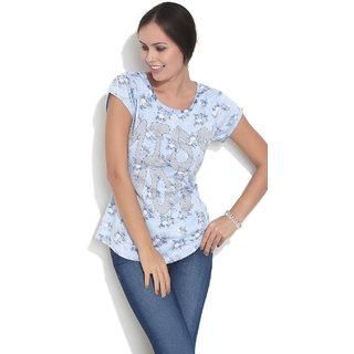 Espreso Miss You Women's Reverse Printed T.Shirt Blue