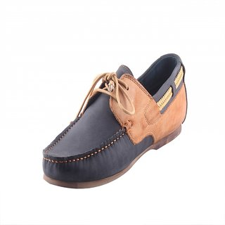 Totes Gallore Blue  Beige Color Genuine Leather Lace Up Loafers For Men