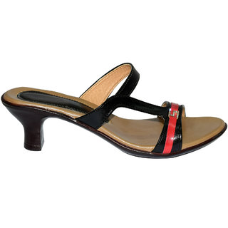 Shoekool Black Red Sandals For Women