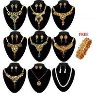 MONALISA Gold Plated 10 Pcs Jewellery Set Combo  -  1000703