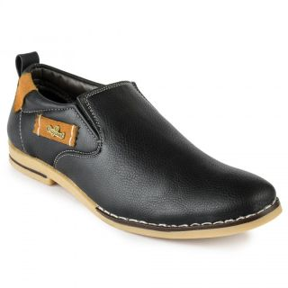 Foot N Style Black Leather Casual Shoes For Men (fs3111)