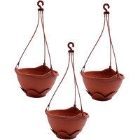 Bloom Hanging Brown, Plastic Pot (Set Of 3)