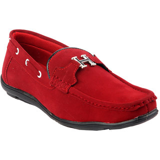 CNS Men's Red Colour Suede Loafers