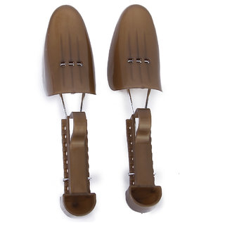 1pair Womens Shoe Trees Adjustable Plastic Shoe Tree For US Size 5-8.5 Brown