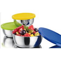 Minura Ripple Stainless Steel Bowl Set ( Set Of 3 ) ( With Coloured Lids )