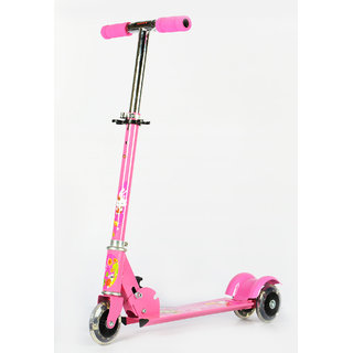 3 Wheel Height Adjustable Kids Folding Scooter for Indoor & Outdoor Fun  Pink  available at ShopClues for Rs.669