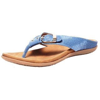 Faux Leather Open Toe  Back Strap Flat Blue Slip-on For Women (5095)