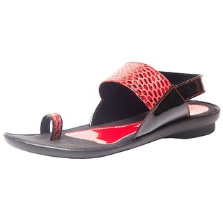 Daily Wear Black Leather Casual Flat Sandals For Women (5573)