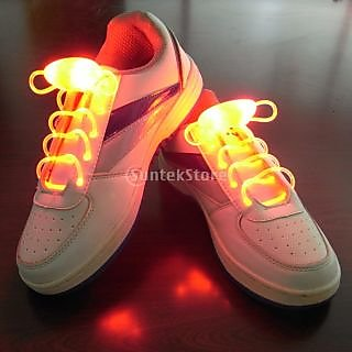 Orange LED Light Up Shoelaces Waterproof Shoestring-3 Modes (On&Strobe&Flashing)