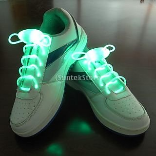 Green LED Light Up Shoelaces Waterproof Shoestring-3 Modes (On&Strobe&Flashing)