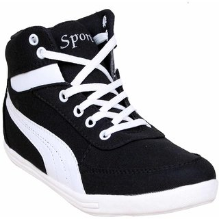 Sukun Black  White Long Casual Shoe