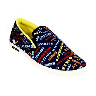 Scatchite Men's Blue Printed Casual Slip On Shoes