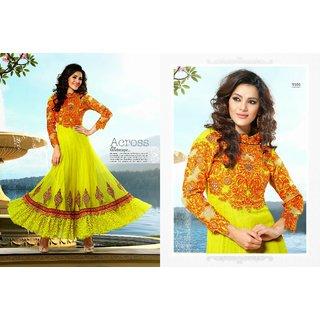 Mehendi Green And Faux Georgette Salwar Kameez