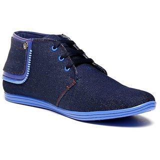 Zapatoz Denim Blue Zipper Ankle Length Shoes