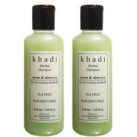 Khadi Neem  Aloevera Herbal Shampoo- Sls  Paraben Free - 210ml (Set Of 2)