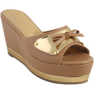Zaera  Ladies Wedges / Sandals / Mid Heel   Giana Strap Wedge  ZDF0140  TAN