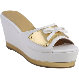Zaera  Ladies Wedges / Sandals / Mid Heel   Giana Strap Wedge  ZDF0140  WHITE