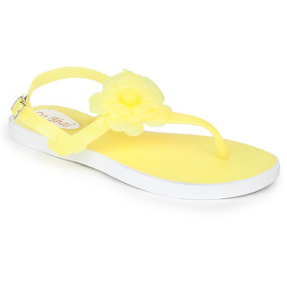 Do Bhai Women's Flower Sandals Yellow