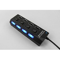 Terabyte High-speed 4 Ports USB 2.0 Hub With Independent Switch- Multicolor