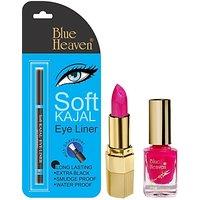 Blue Heaven Lipstick P 064, Nail Paint 993  Kajal Liner Combo(Set Of 3)
