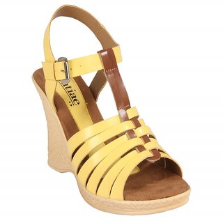 GRATIAE Yellow Wedges Sandals  For Women  G-90