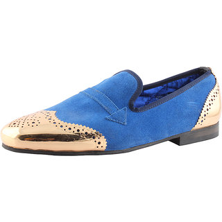 Totes Gallore Mens Suede Loafers With Metal Toe-998 Blue