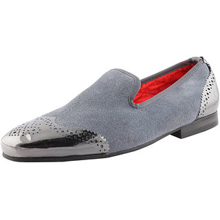 Totes Gallore Mens Suede Loafers With Metal Toe-996 Grey