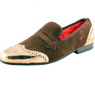 Totes Gallore Mens Suede Loafers With Metal Toe-998 Brown