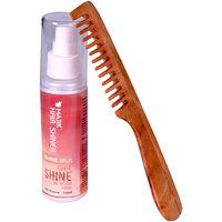 Combo Pack Of Majik Neem Wood Comb And Shiner, Set Of 2