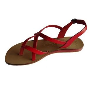 S.L 13007 Fancy Women Leather Red Sandals