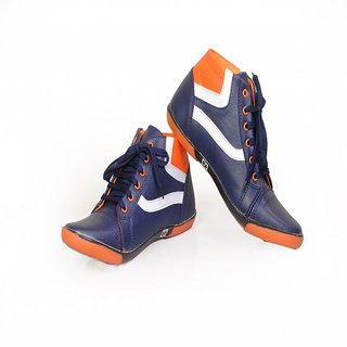 OZONE 2404 SPORTS SHOES PVC NAVY BLUE ORANGE WHITE FOR MEN