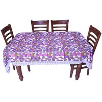 E-Retailers Classic  Small Boxes Design Multi Colour With White Lace 8 Seater Dinning Table Cover
