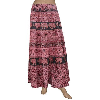 Pezzava: Women's Wear Cotton Wrapround Animals Design Long Skirt SKT-WLC-A0109