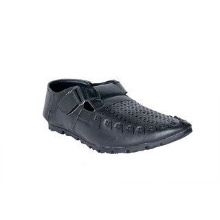 Panahi Men's Synthetic Leather Black Pathani Sandals
