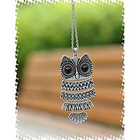 WF Classic Vintage Owl Necklace Pendant With Chain - Silver