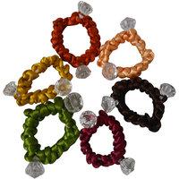 Adbeni Colourful Dimond Shape Resham Thread Coated Rubber Hairbands Good Choice